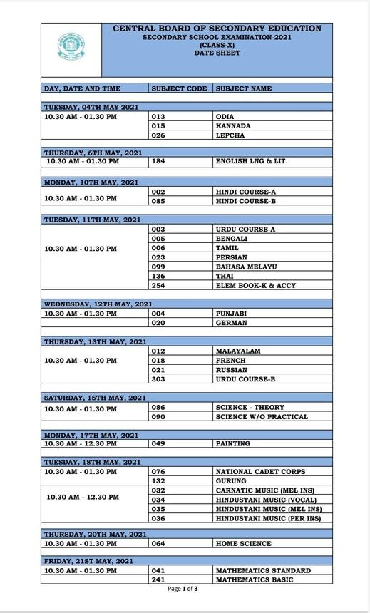 CBSE Class 10th Date Sheet 2021