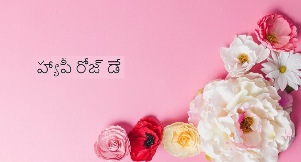 Happy Rose Day Wishes Images with Quotes in Telugu