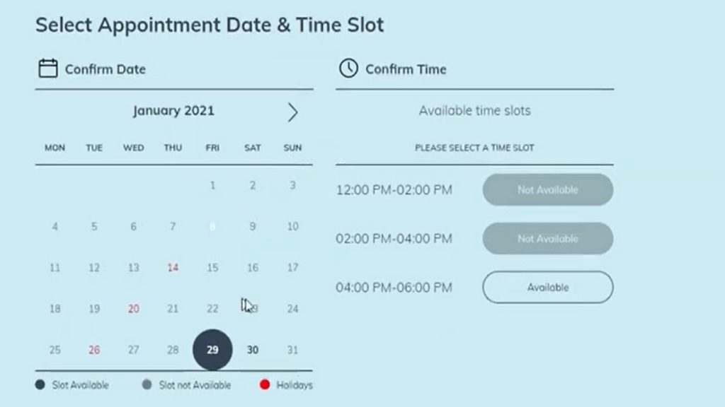Select HSRP Appointment Slot