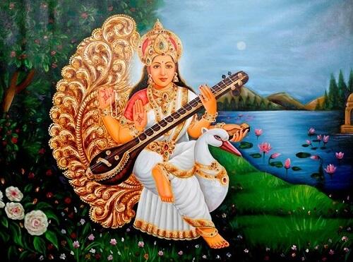 saraswati mata ki sawari with swan